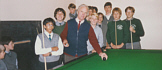 The inauguration of the relaid snooker table, 1986